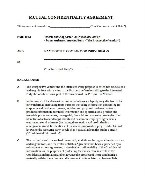 Mutual Business Agreement Business Confidentiality Agreement 8 - vendor confidentiality agreement