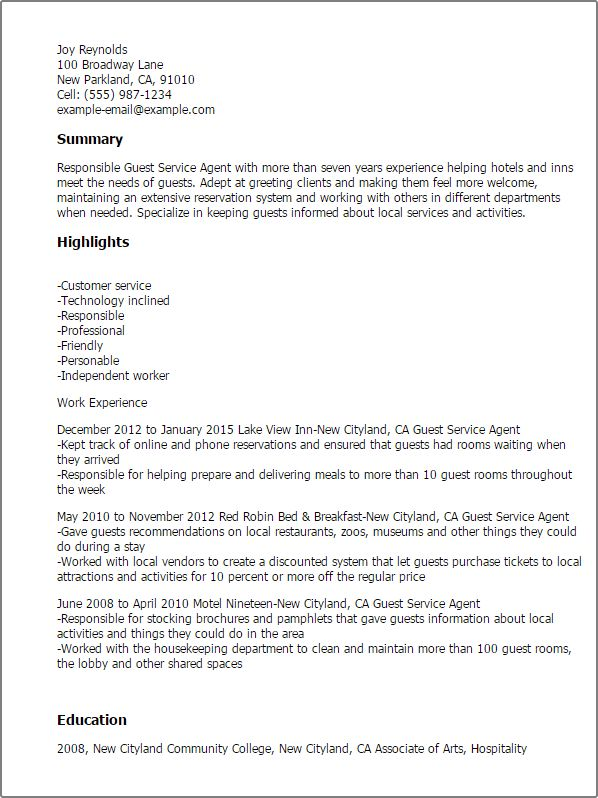 Guest Services Associate Sample Resume] Unforgettable Guest