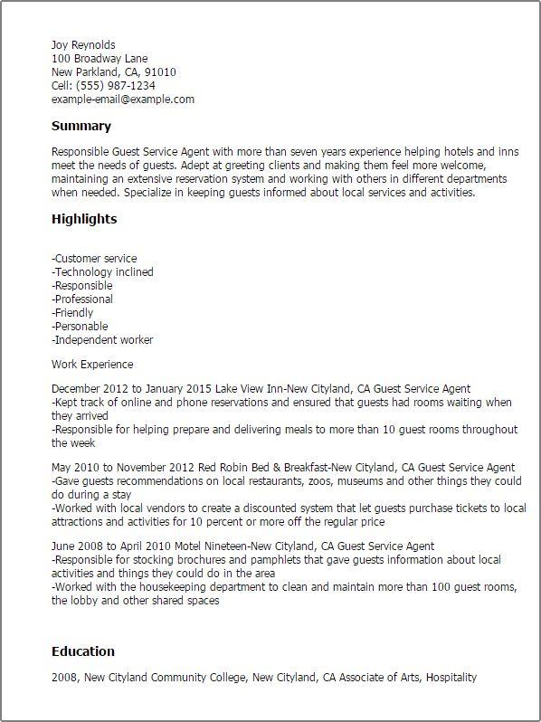 Emejing Hotel Guest Service Agent Cover Letter Photos - Triamterene ...