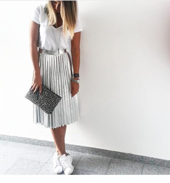 White t-shirt and silver midi skirt
