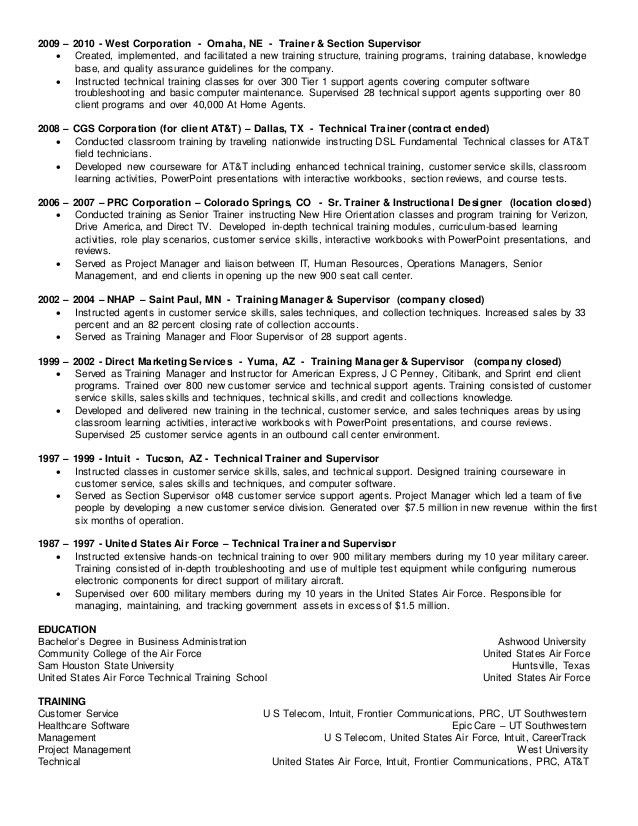 Technical Trainer Resume Ideas