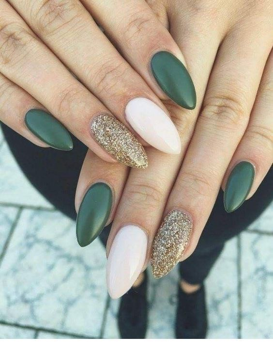 Olive nails with gold glitter