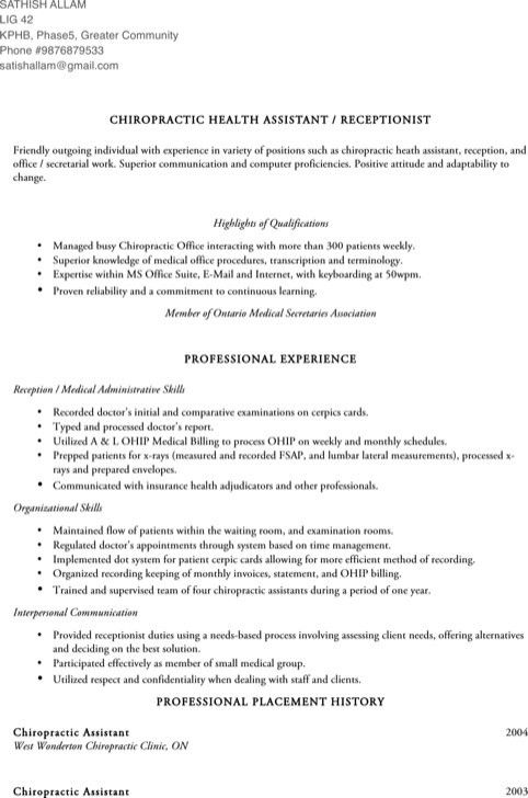 Chiropractic assistant resume node2003 cvresumeasprovider chiropractic assistant resume thecheapjerseys Choice Image