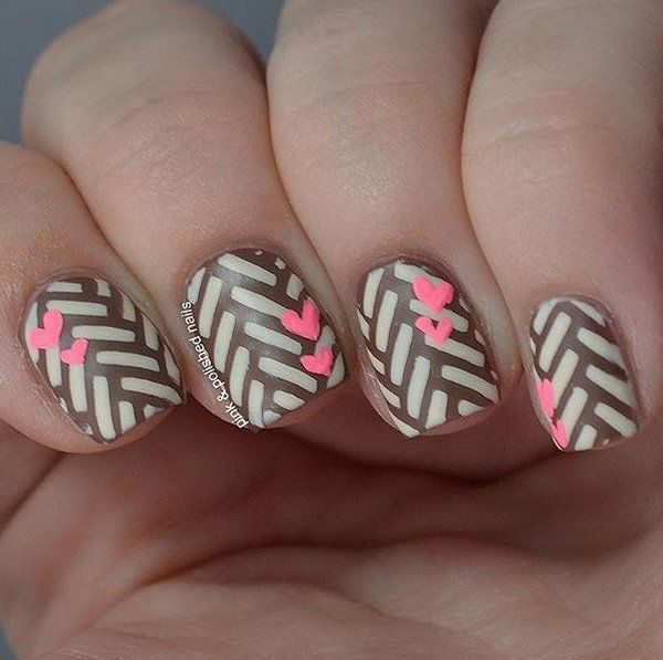 Cute brown and gray with heart nail art