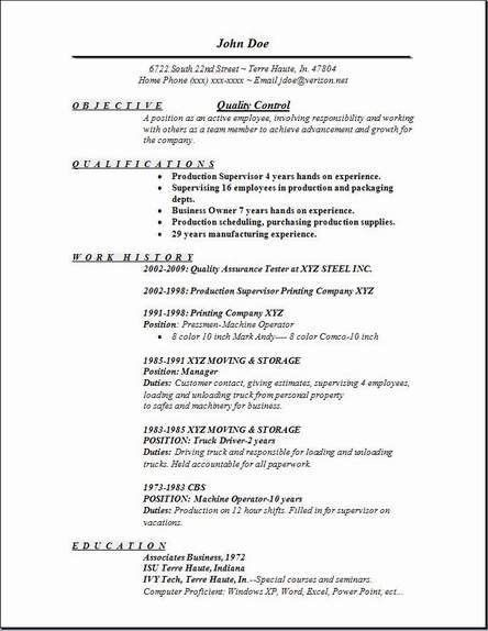 Quality Control Resume Examples - Examples of Resumes - Quality Resume Templates
