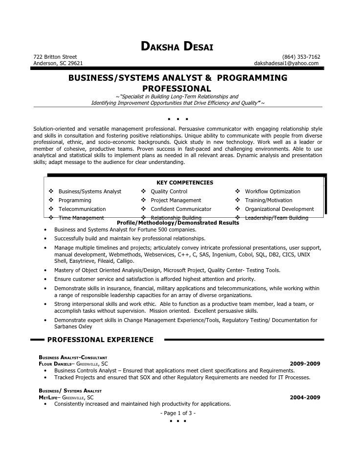 Resume Objective Business Analyst Business Analyst Resume - sample financial analyst resume