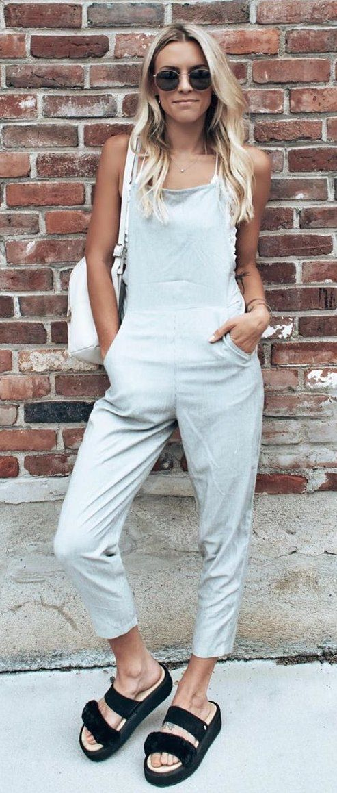 white overall pants #summer #outfits