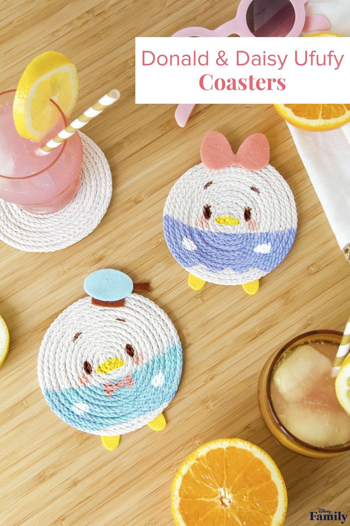 Keep these sweet little friends close by when your family has cold drinks! Inspired by the cute Ufufy plushes, these DIY Donald and Daisy Coasters are fun to make and useful to have around! Click for the Mickey & Friends craft tutorial.