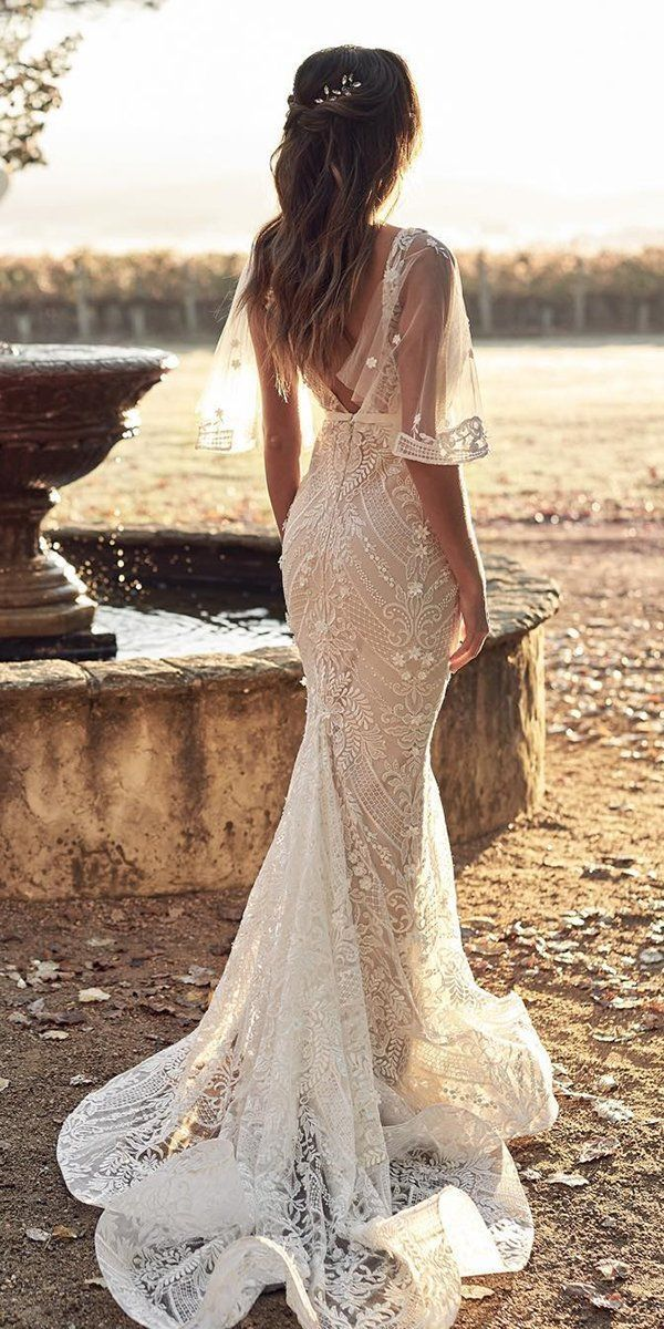 36 Lace Wedding Dresses That You Will Absolutely Love ❤ lace wedding dresses trumpet v back with sleeves vintage anna campbell #weddingforward #wedding #bride