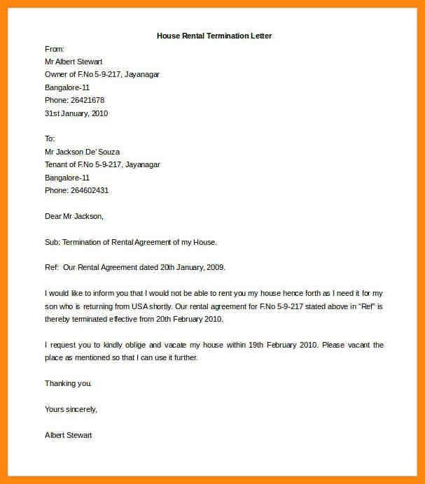 Agreement Termination Letter Format Contract Termination Letter - lease termination letter example