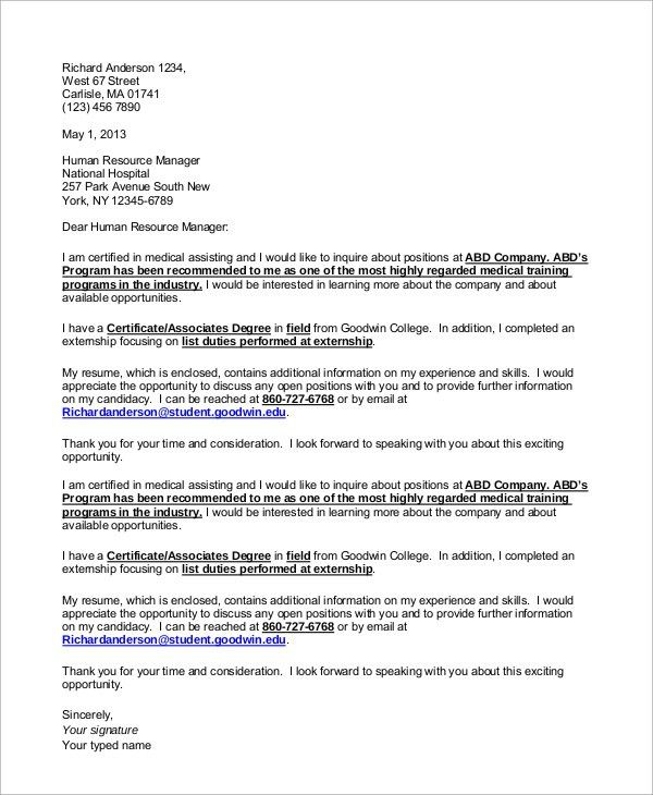 Certified Medical Assistant Cover Letter Professional Certified - medical assistant thank you letter