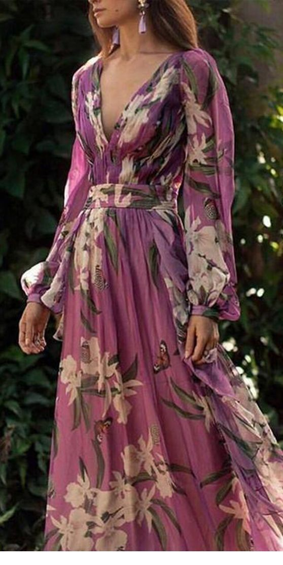 Chic purple floral dress