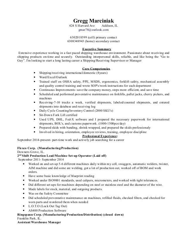 Warehouse Receiver Resume Images Resume Format Examples 2018
