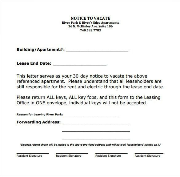 Sample 30 Day Notice To Vacate Apartment Printable 30 Day Notice - 30 day notice template
