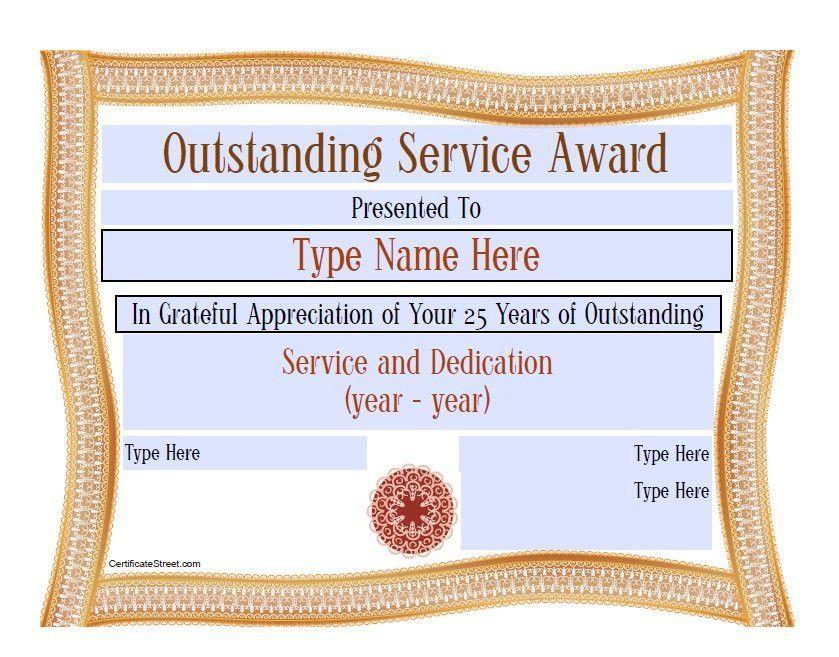 award certificate examples