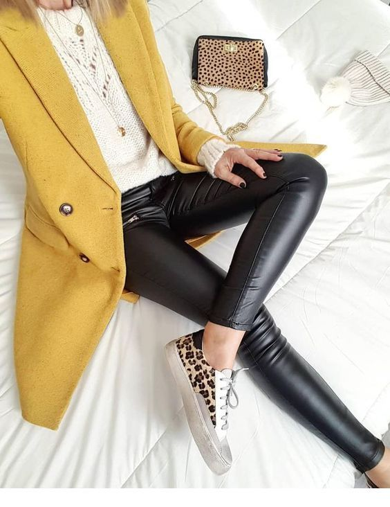 Cool yellow coat for winter