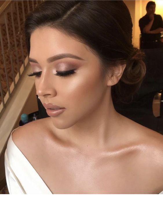 Wedding makeup, brown hair and a wedding