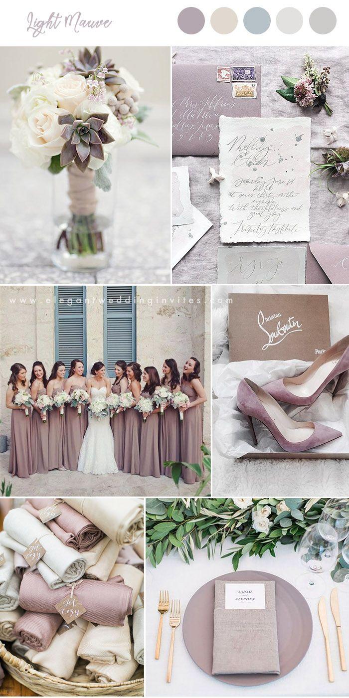 light mauve and neutral shades elegant wedding colors