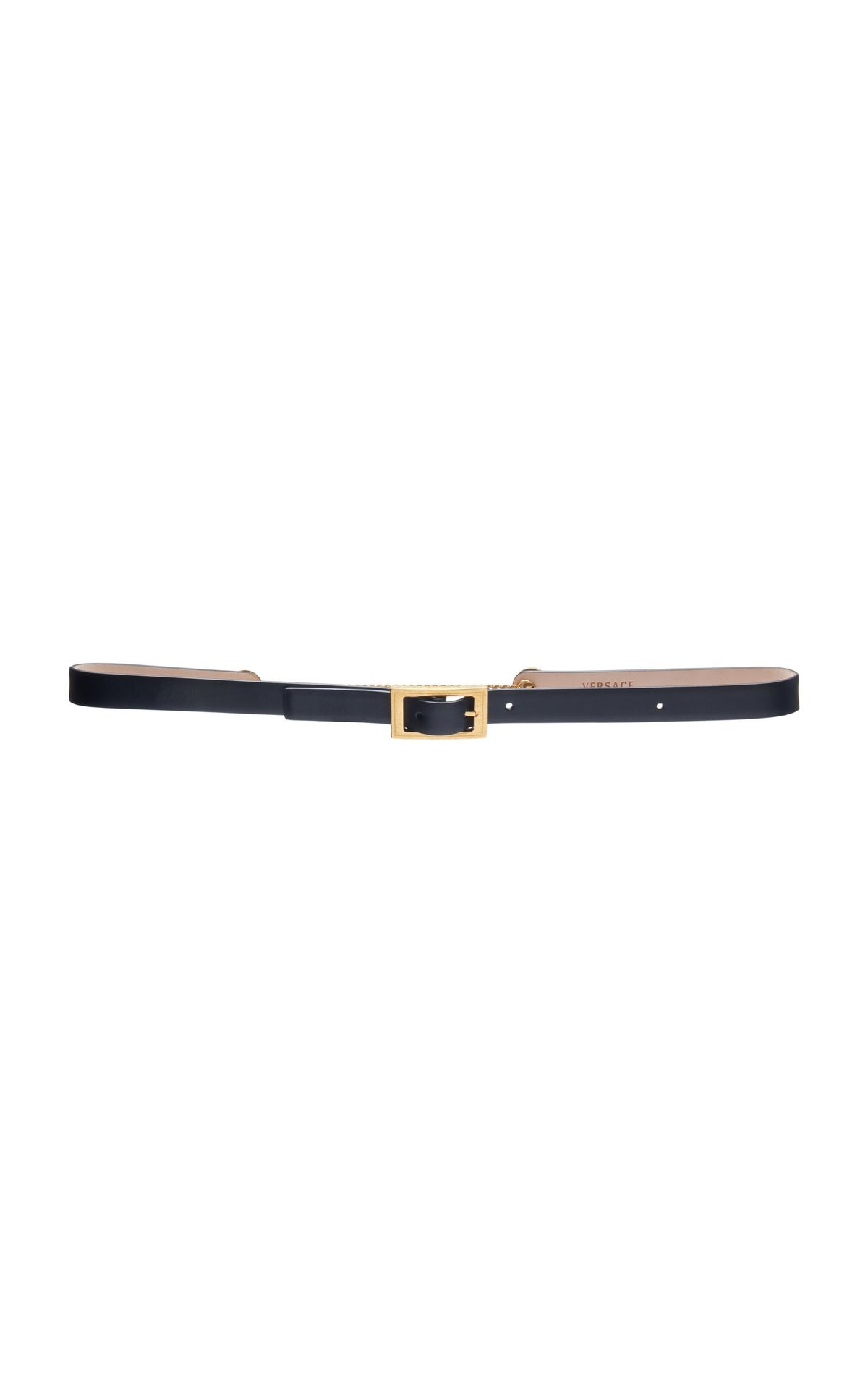 Chain-Detailed Leather Belt