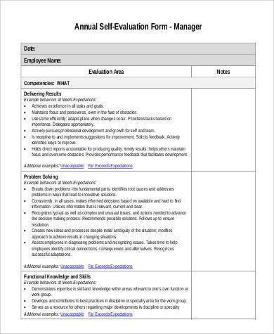 Self Evaluation Examples Sample Employee Self Evaluation Form 14 - employee self evaluation form