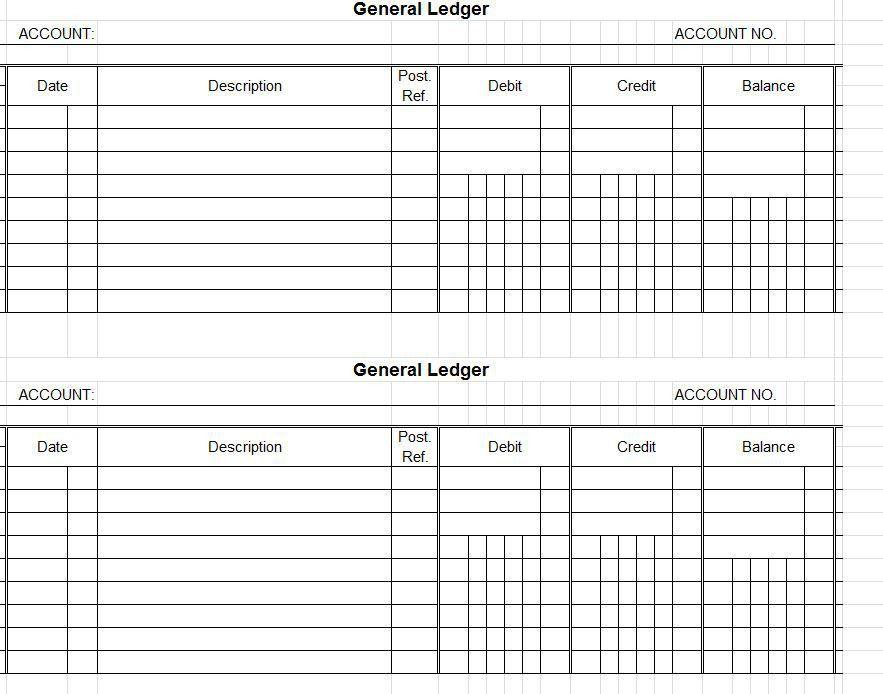 Printable Account Ledger General Ledger Sheet Template Double - account ledger template