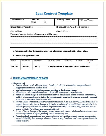 Sample Loan Contract 5 Loan Agreement Templates To Write Perfect - loan contract sample