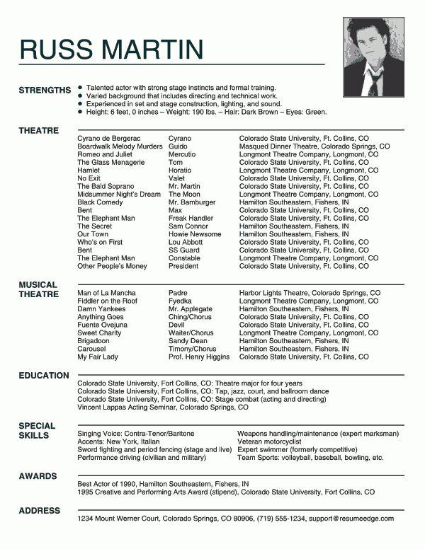 actors resume sample