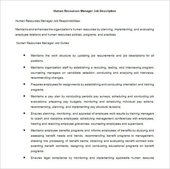 Duties Of Hr Manager Role Of Hr Manager, Introduction To Human - hr director job description