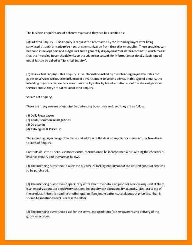 Letter Of Inquiry. Sales Inquiry Letter Amazing Format Of Enquiry .  Format Of Letter Of Enquiry