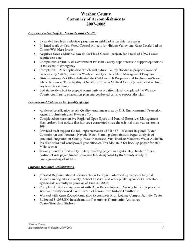 accomplishments for resume