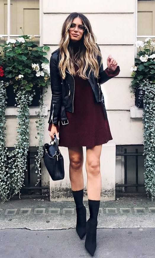 fashion trends / biker jacket maroon dress bag boots