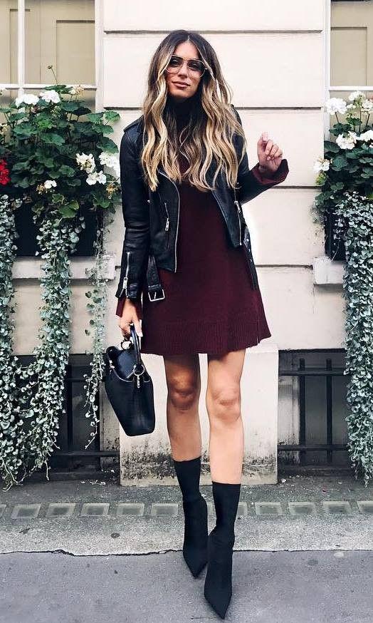 fashion trends / biker jacket maroon dress bag boots