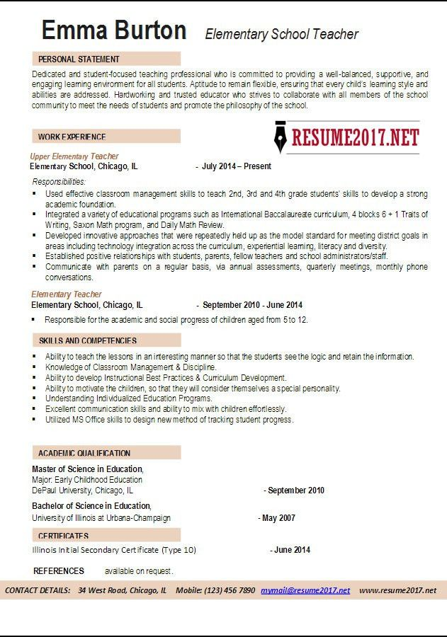 Examples Of Elementary Teacher Resumes - Examples of Resumes - sample resume for elementary teacher