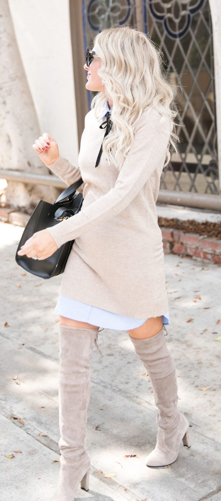gray long-sleeved mini dress
