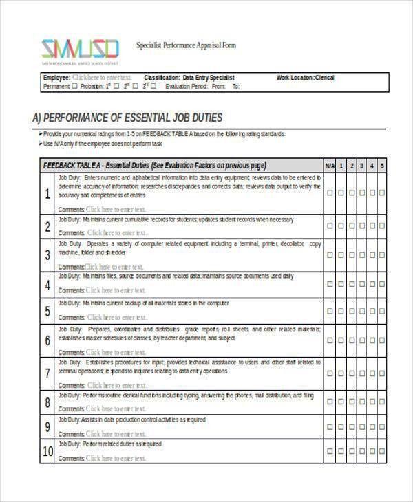 Sample Appraisal Form 8 Hr Appraisal Forms Hr Templates Free - sample employee appraisal form