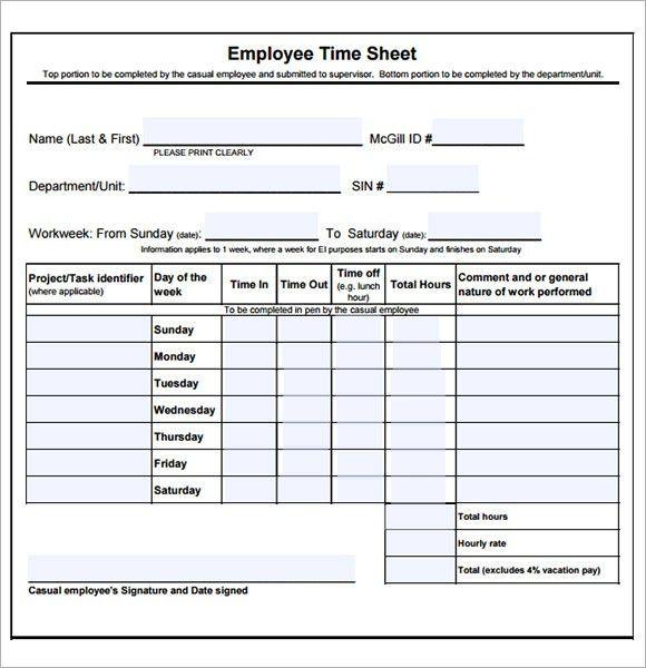 Printable Time Card Template 8 Printable Time Card Templates Free - printable employee time sheet