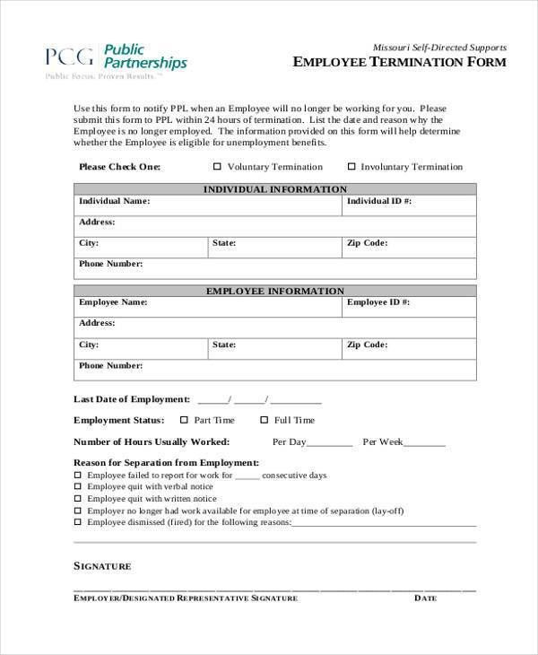 Employment Termination Form Template Free Termination Letter - employee termination form