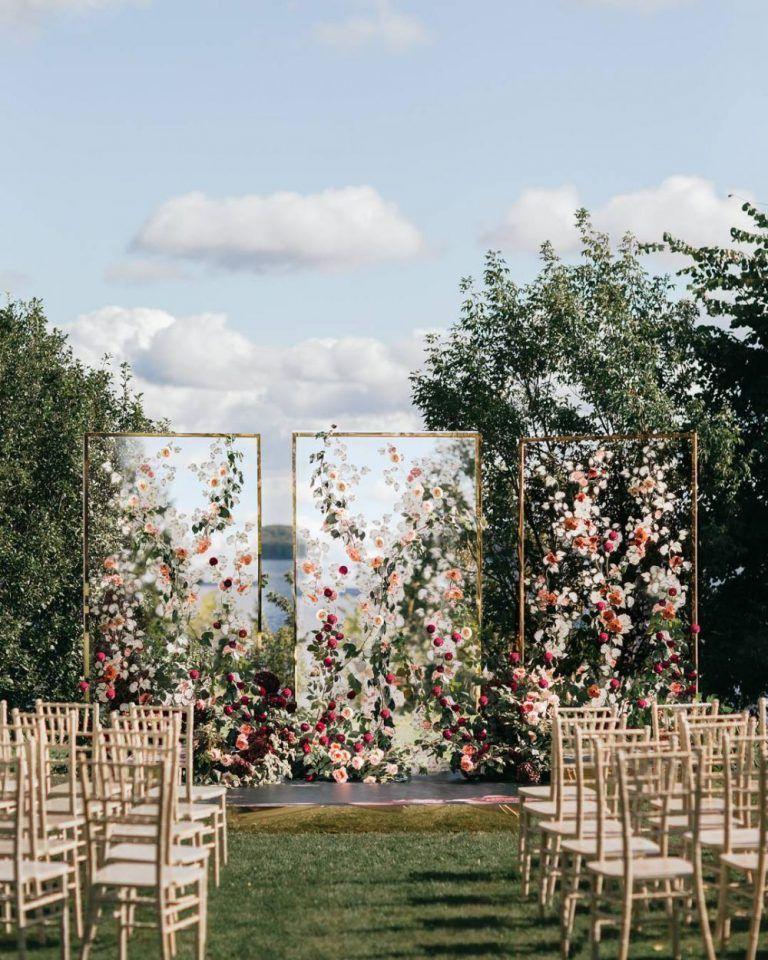 creative floral acrylic modern wedding backdrop ideas.