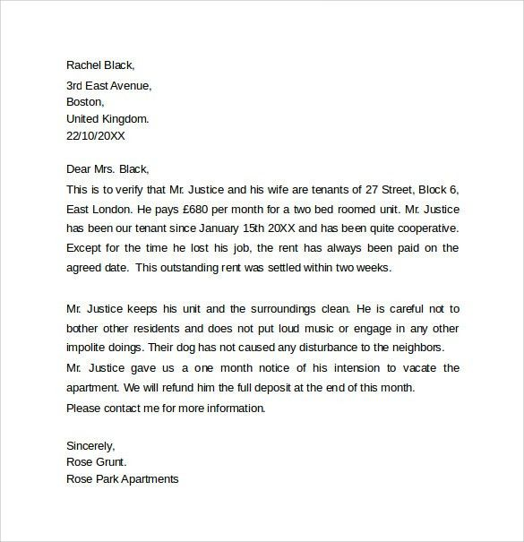 Rental Reference Letter Sample 7 Rental Reference Letter - how to write a reference letter uk