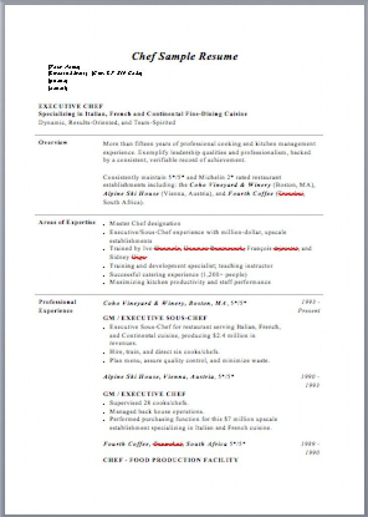 Resume For Chefs Examples - Examples of Resumes