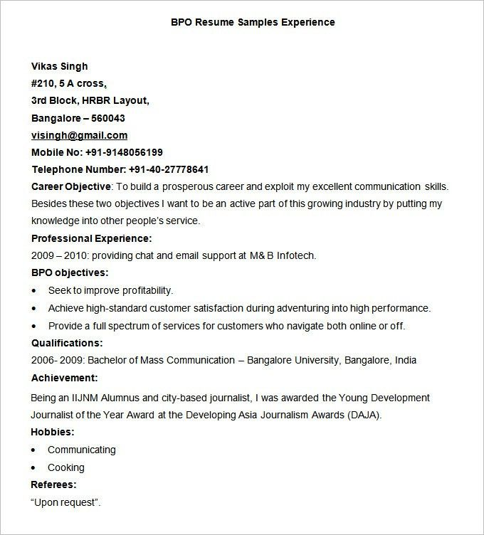 Sample Resume Experience Resume Types And Samples, Sample Resume - examples of writing a resume