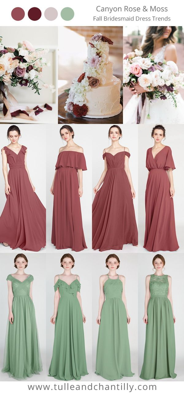 canyon rose and moss wedding color inspiration with bridesmaid dresses collection #wedding #weddinginspiration #bridesmaids #bridesmaiddress #bridalparty #maidofhonor #weddingideas #weddingcolors #tulleandchantilly