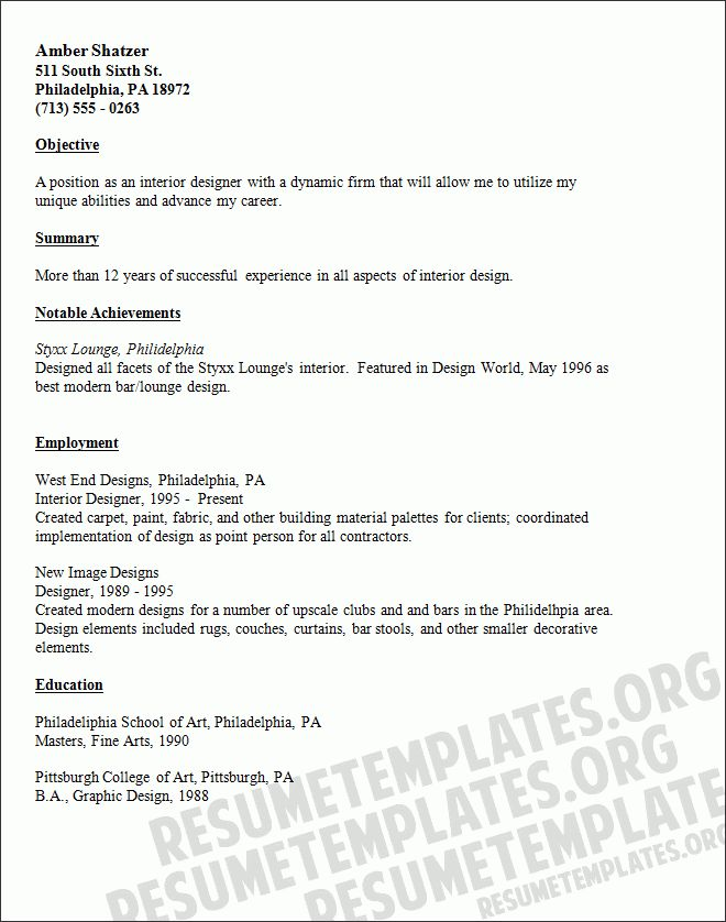 Interior Design Resume Objective Examples - Examples of Resumes - interior designer resume objective