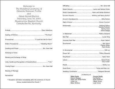 Church Program Template Free Church Program Template Cyberuse - wedding agenda sample