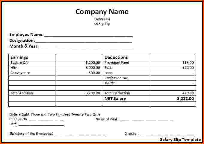 Payslip Template Excel South Africa