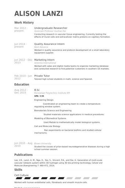 Undergraduate Student Resume Sample Resume Template For