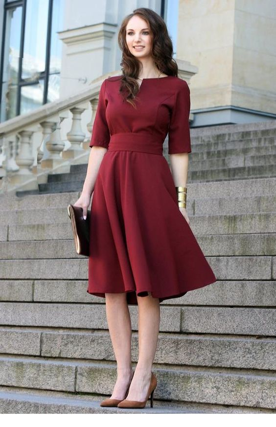 Lovely burgundy retro dress