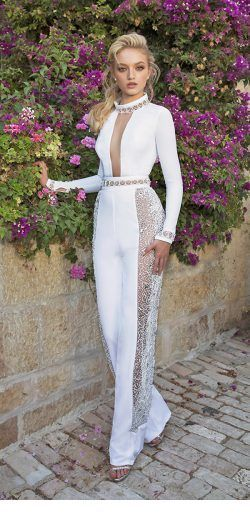Glam white jumpsuit design