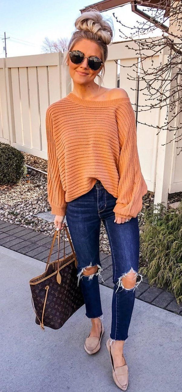 brown knit sweater #spring #outfits