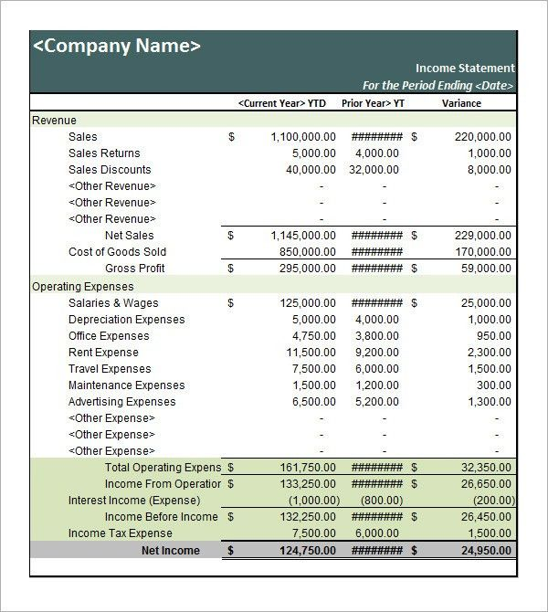 Template For Income Statement Income Statement Template For Excel - sample income statement format